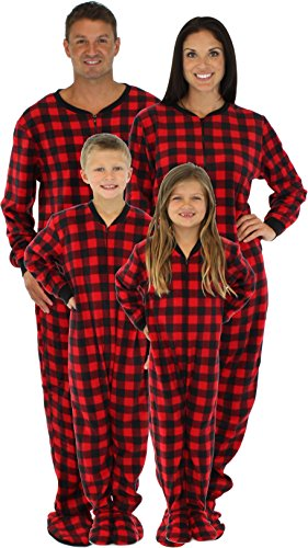 SleepytimePjs Family Matching Red Plaid Fleece Footed Pajamas-4T