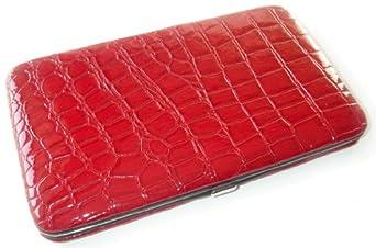 Scarlet Red Croc Flat Wallet