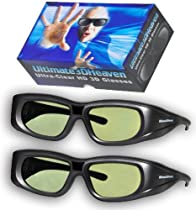 2 Ultra-Clear 3D Glasses for Toshiba 3D Televisions Rechargeable
