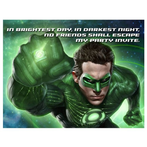Green Lantern Invitations w/ Envelopes (8ct)