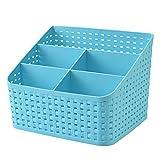 Imitation Rattan Colorful Multifunctional Cosmetics Remote Control Desktop Storage Basket(Blue)