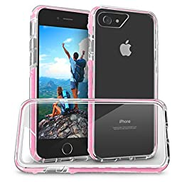 Orzly FUSION Bumper Case Cover Shell for Apple iPhone 7 (2016 Version of 4.7 inch Model) - Protective Hard Back Cover with Impact Absorbing Edges - 100% Clear with PINK Rim