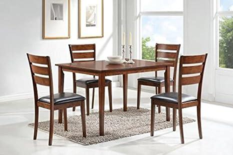 5pcs Dining Set in Medium Brown Finish by Coaster Furniture