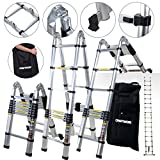 Craft Worx Aluminium Telescopic Folding Ladder and Carry Case Available in Various Sizes Multi-Purpose Ladder Step Aluminum Ladder