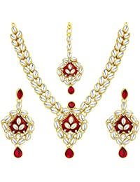 Sukkhi Glamorous Gold Plated Kundan Necklace Set For Women