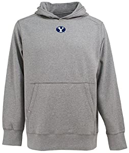 Brigham Young Signature Hooded Sweatshirt (Grey) by Antigua