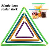 Magic Bag Sealer Stick, Chip Clips Plastic Bag Sealer Stick By SySrion for an Air Tight, Water Tight Seal, Thin and Compact for Easy Storage, No Moving Parts. 4 Lengths 12-pack