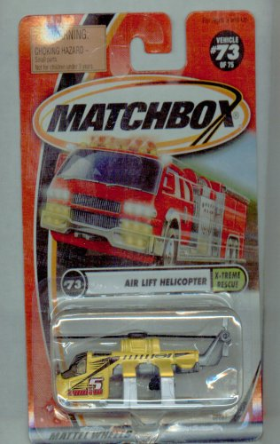 Matchbox 2001-73/75 X-treme Rescue YELLOW Air Lift Helicopter 1:64 Scale - 1