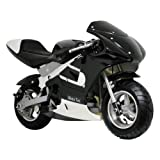 Big Toy USA MotoTec Gas Pocket Bike Battery Powered Riding Toy -, Black, Metal, Other