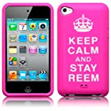iPod Touch 4 Keep Calm And Stay Reem Lasered Silicone Skin Case / Cover / Shell - Hot Pinkby TERRAPIN