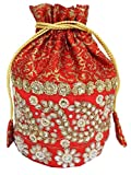 GiftPiper Embroidered Stone Work Potli-Red