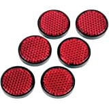 Gear Gremlin GG321 Red Round Adhesive Backed Reflector, (Pack of 6)