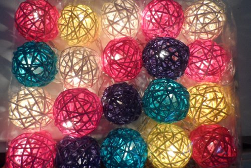 Thai Led Fairy String Light Cotton Mixed Color 20 Balls For Party, Wedding, Christmas Tree And New Year Day # 11 /2 Set