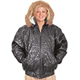 Wilda Women's New York City Embroidery Leather Jacket w/ Fur Trimming by NYC Leather Factory Outlet