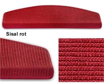 15 Stück Pure Nature Sisal Stufenmatten Set   Größen wählbar   Rot