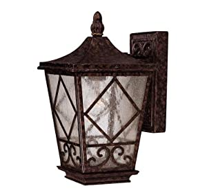 Savoy House 5-421-56 Outdoor Sconce with Pale Cream Textured Shades, Brown Tortoise Shell Finish