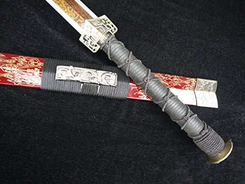Chinese Sword/Damascus Steel Knife Slices/Wood Carving Paint Scabbard/Alloy Fitting