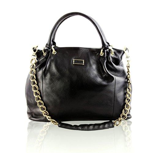 BOVARI XL Borsa donna - Chain Bag - nero - Dimensioni(cm): 45(L)x 32(A) x 13 (P) - vera pelle -
