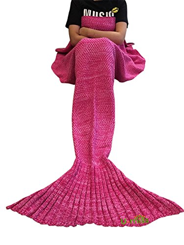 U-miss Mermaid Blanket Crochet and Mermaid Tail Blanket for adult, Super Soft All Seasons Sleeping Blankets(71