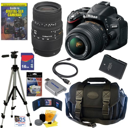 Nikon D5100 16.2MP CMOS Digital SLR Camera with 18-55mm f/3.5-5.6 AF-S DX VR Nikkor Zoom Lens and Sigma 70-300mm f/4-5.6 SLD DG Macro Lens with built in motor + 16GB Deluxe Accessory Kit