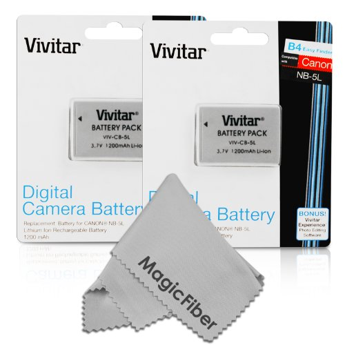 (2 Pack) Vivitar Nb-5L Ultra High Capacity 1200Mah Li-Ion Batteries For Canon Powershot S110, Sx230 Hs, Sx210 Is, Sd790 Is, Sx200 Is, Sd800 Is, Sd850 Is, Sd870 Is, Sd700 Is, Sd880 Is, Sd950 Is, Sd890 Is, Sd970 Is, Sd990 Is (Canon Nb-5L Replacement)