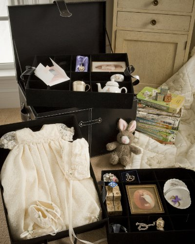 Baby Keepsake Storage Chest with Three Velvet Covered Trays - 1
