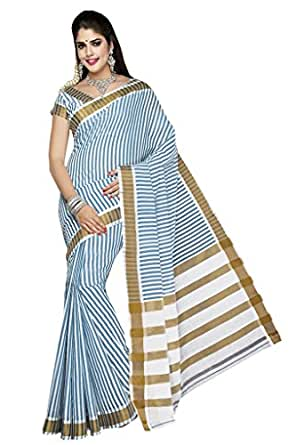 Ishin Cotton White & Blue Solid Saree available at Amazon for Rs.3249