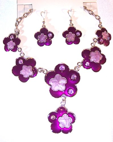 Silvertone with Purple Color Enamel Flower Necklace and Earring Set Nickle Free