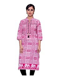Adesa Women's Cotton Self Print Regular Fit Kurti - B00VHSDM4U