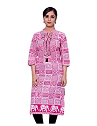 Adesa Women's Cotton Self Print Regular Fit Kurti
