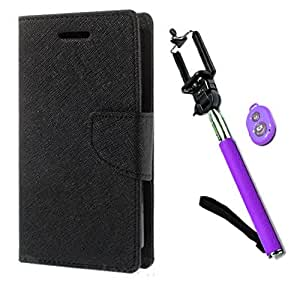 Aart Fancy Diary Card Wallet Flip Case Back Cover For Samsung 8552 - (Black) +Remote Aux Wired Fashionable Selfie Stick Compatible for all Mobiles Phones By Aart Store