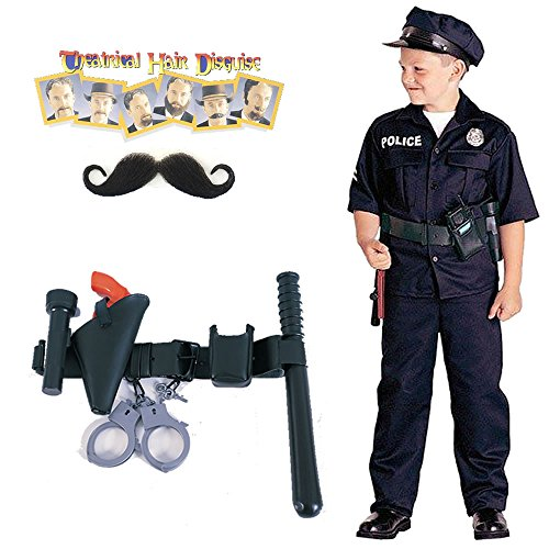 Police Officer Child Costume, Police Officer Belt, Handlebar Moustache (S/6-8)
