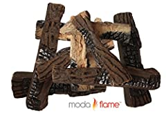Moda Flame Set of 10 Ceramic Wood Fireplace Logs