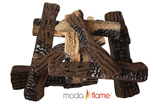 Moda Flame Set of 10 Ceramic Wood Fireplace Logs (Gas Fire Logs For Fireplace compare prices)