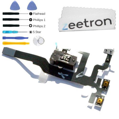 Iphone 4S Headphone Audio Jack Flex Cable Black + 7 Piece Opening Tool Kit + Zeetron Microfiber Cloth (9 Piece Kit)