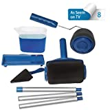 Paint Roller Brush Tools Set Wall Printing Brush with 3 Extension Handle Stick Paint Runner Pro As Seen On Tv for Home Office Room(8pcs) (Color: blue)