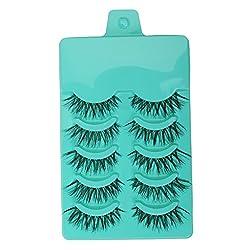 Generic 5 Pairs Popular Long Cross False Eyelashes Soft Fiber Eye Lashes - green