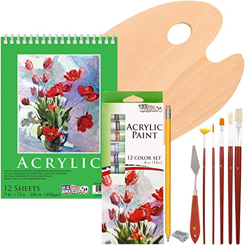 Acrylic painting set 23 piece with bag case art supply for Acrylic mural paint supplies