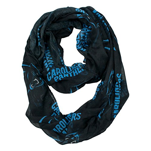 NFL Carolina Panthers Sheer Infinity Scarf, One Size, Blue