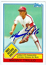 Manny Trillo autographed Baseball Card (Philadelphia Phillies) 1983 Topps #5 Record Breaker