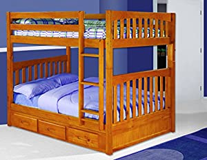 Discovery World Furniture Full over Full Bunk Bed with 3 Drawer Storage