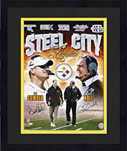 Framed Pittsburgh Steelers Bill Cowher and Chuck Noll Signed 16