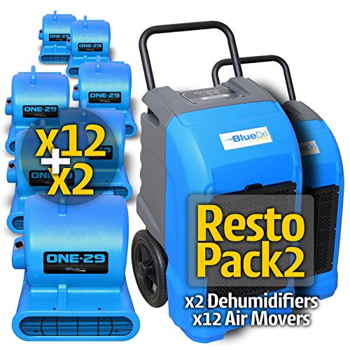 Blue BlueDri RestoPack1 includes 2x 76 Pint PPD Stackable Commercial Dehumidifiers 12x 1/3 HP 3 Speed 2.9 Amp One-29 Stackable Air Mover