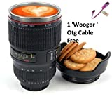 Woogor Camera Lens Thermos Stainless Steel Cup, Mug for Coffee or Tea, Random Color With One 'Woogor' branded Otg Cable