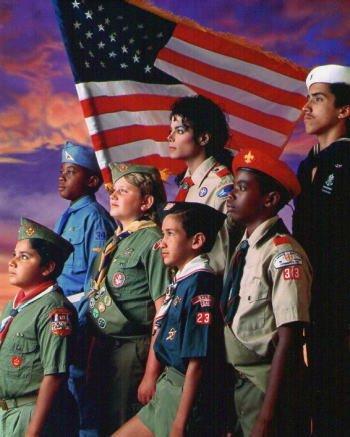 ブロマイド写真★マイケル・ジャクソンMichael Jackson/ボーイスカウトの少年たちと