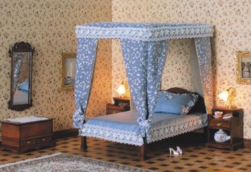 baldachin bett doppelbett f r das puppenhaus bausatz ean 4022744400140. Black Bedroom Furniture Sets. Home Design Ideas