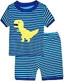 Boys Pajamas Striped Dinosaur Short Sets Cotton Kids Clothes Sleepwear Size 2Y-7Y