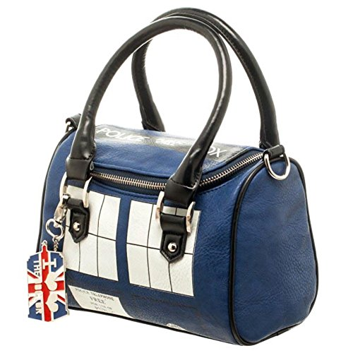 Official TARDIS Mini Satchel and Metal Charm Keychain Shoulder Handbag
