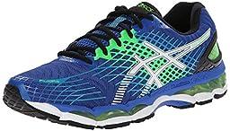 ASICS Men\'s Gel-Nimbus 17 Running Shoe,Royal/White/Flash Green,10 M US