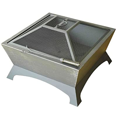 Outsunny Garden Patio Fire Pit Decking Heater Metal Firepit Black Square Brazier by Manufactured for MHStar